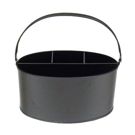 "11"" x 7"" x 6"" Black Enamel Oval Utensil Holder"