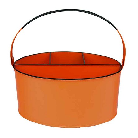 "Orange Enamel Oval Utensil Holder - 11"" x 7"" x 6"""