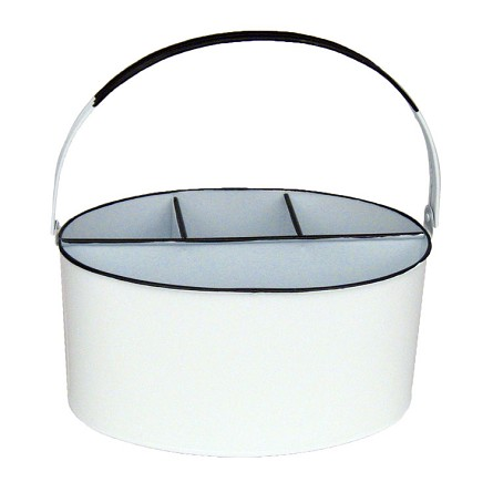 "11"" x 7"" x 6"" White Enamel Oval Utensil Holder"