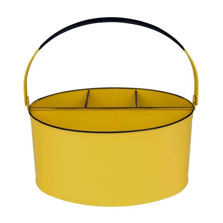 "Sunshine Yellow Enamel Oval Utensil Holder - 11"" x 7"" x 6"""