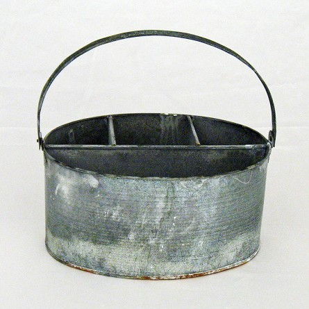 "11"" x 7"" x 6"" Weathered Gray Zinc Wash Oval Utensil Holder"