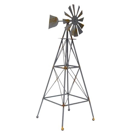 "25"" Weathered Metal Country Windmill Centerpiece"