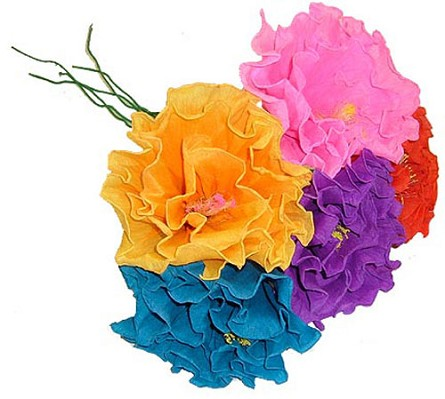 Brightly colored handmade mexican paper flowers fiesta party hand made paper ruffled flower 1 color varies mightylinksfo Choice Image
