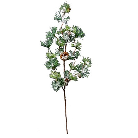 "32"" Realistic Evergreen Pine Tree Floral Spray with Snow & Bells"