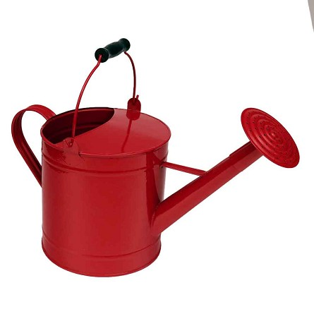 Fire Engine Red Enamel Watering Can Vase Centerpiece