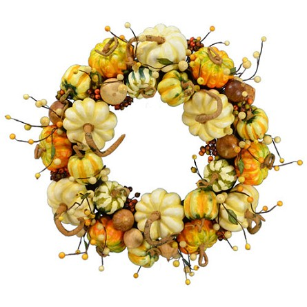 "20"" Realistic Pumpkin Wreath in Natural Autumn Colors"