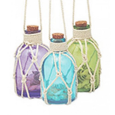 Mini Rope Net Bottle With Seashells Coastal Christmas Ornament - 1 of 3 colors