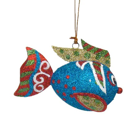 "4"" Glittered Tropical Fish Coastal Christmas Ornament - 3 colors"