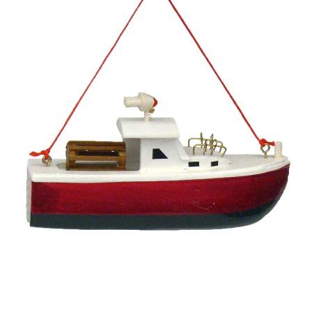 Wood Lobster Boat Coastal Christmas Ornament Seashore