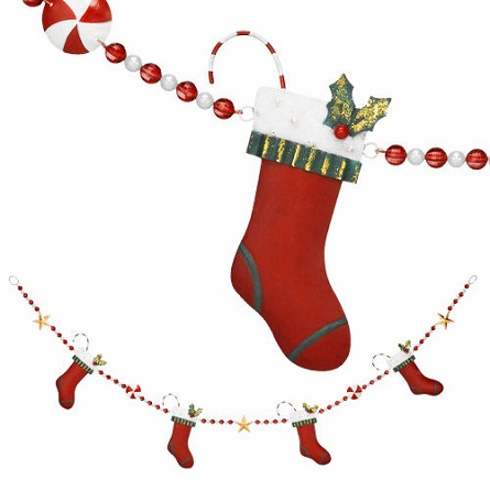 Metal Stockings With Candy Canes Garland - 54""