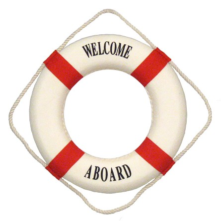 "14"" Welcome Aboard Life Preserver - Blue or Red"