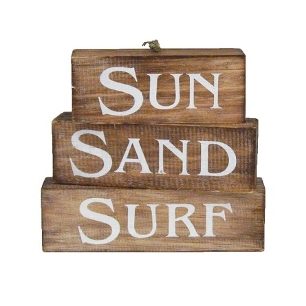 SUN | SAND | SURF Weathered Natural Wood Blocks Sign