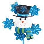 Snowman Yard Stake With Spinning Snowflakes