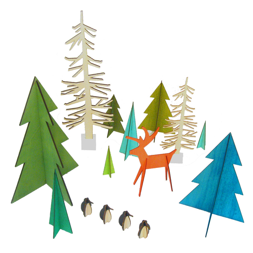 Christmas Tree Cut Out.Alpine Moose Wood Cutout Natural