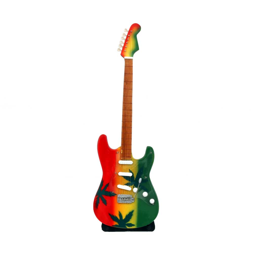 Rastafarian Cannabis Leaf Electric Guitar With Stand Music Themed Party Decorations