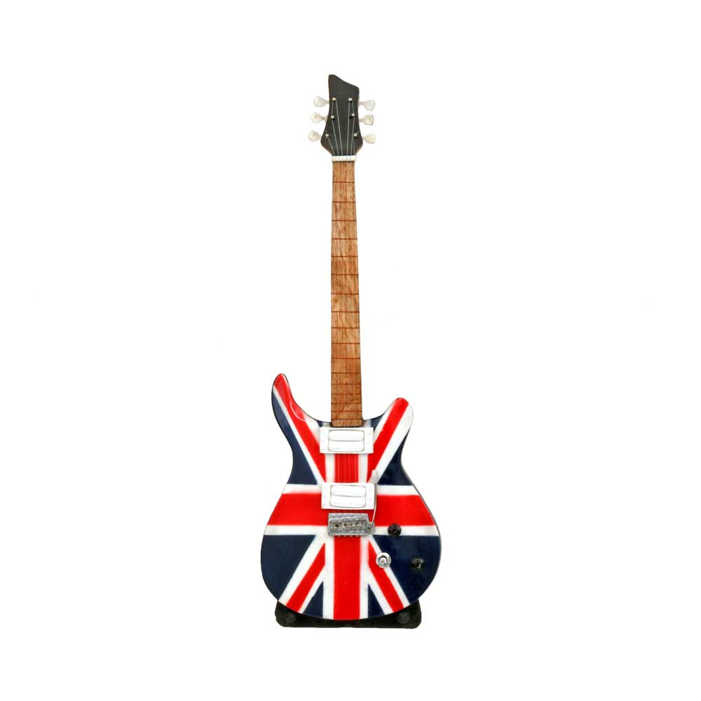 Union Jack British Flag Electric Guitar With Stand Music Themed Party Decorations