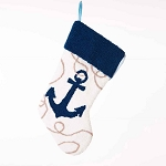 Hand-crafted Coastal Christmas Hooked Stocking With Admiralty Anchor