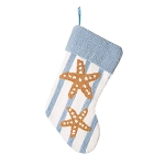 Hand-crafted Coastal Christmas Hooked Stocking With Starfish