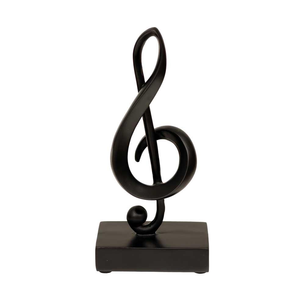 7 black treble clef musical note statuette