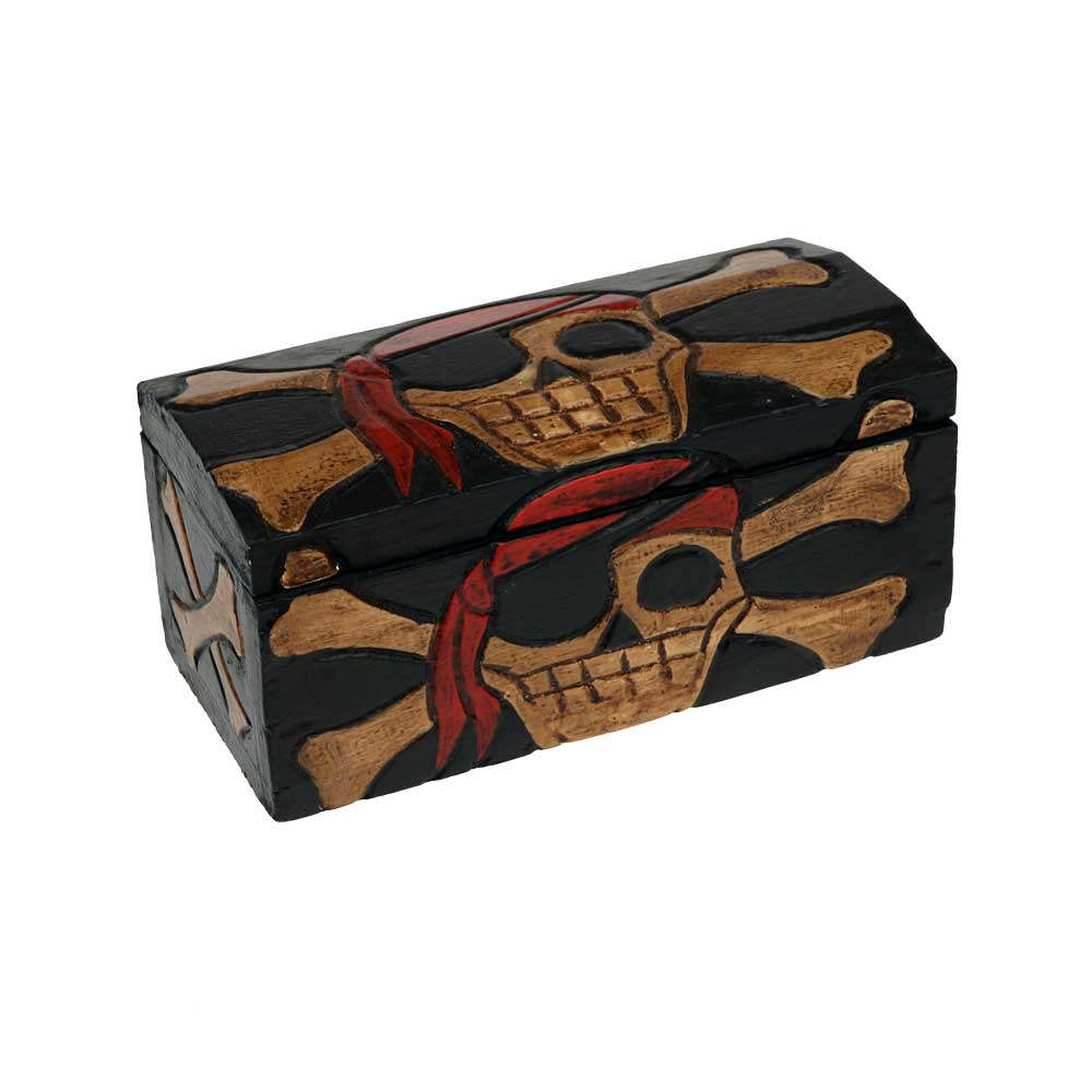 Mini Carved Pirate Treasure Chest Nautical Buccaneer Booty