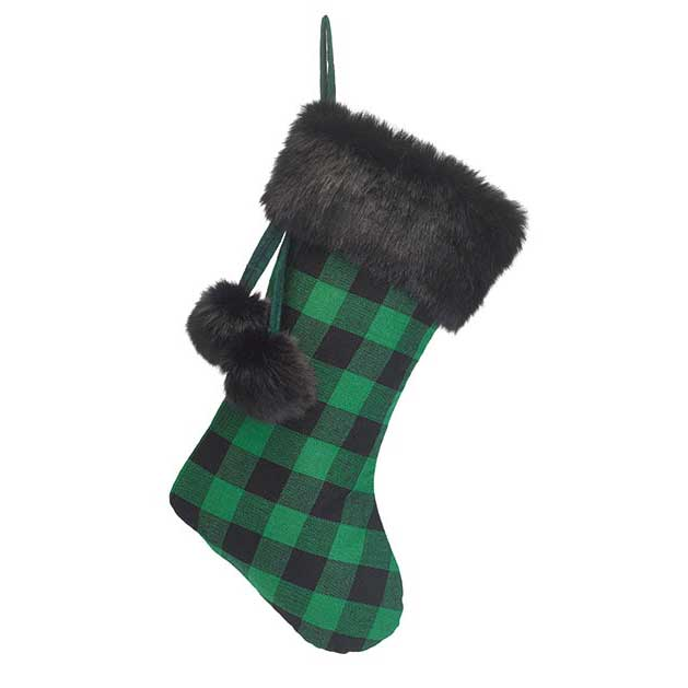 Green & Black Check Christmas Stocking with Fur Trim