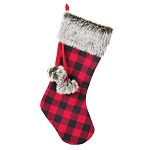 Red & Black Check Christmas Stocking with Fur Trim