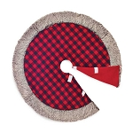 Red & Black Check Christmas Tree Skirt with Fur Trim