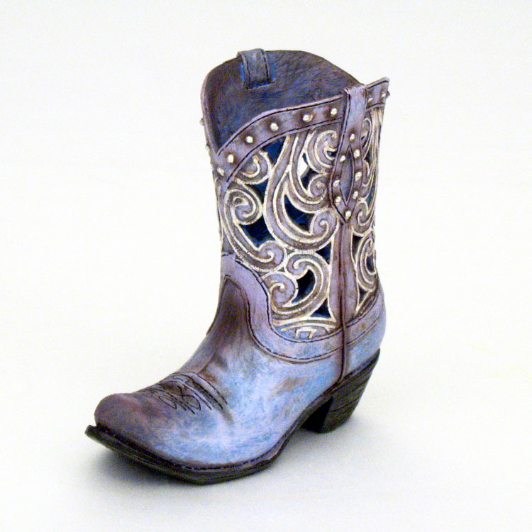 45 Mini Die Cut Scroll Cowboy Boot Dried Flower Vase Country