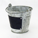 Weathered Gray Zinc Pail With Chalkboard - 2 sizes