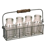 Gray Zinc Wire Milk Jar Caddy With Wood Handle - 10