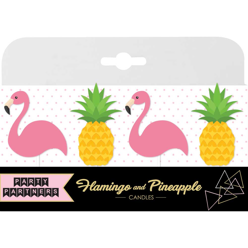 Pineapples & Pink Flamingos Birthday Candles (4)