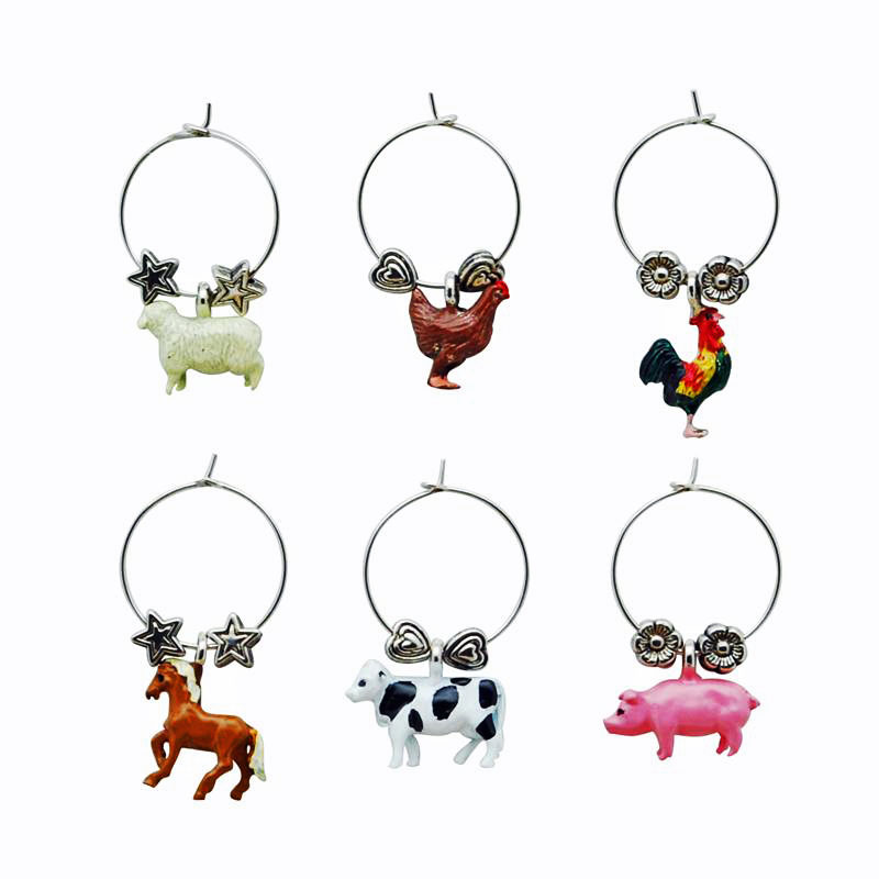 Country Barnyard Themed Wine Charms (6)