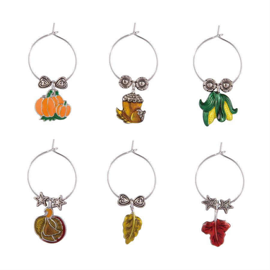 Fall Harvest Themed Wine Charms (6)