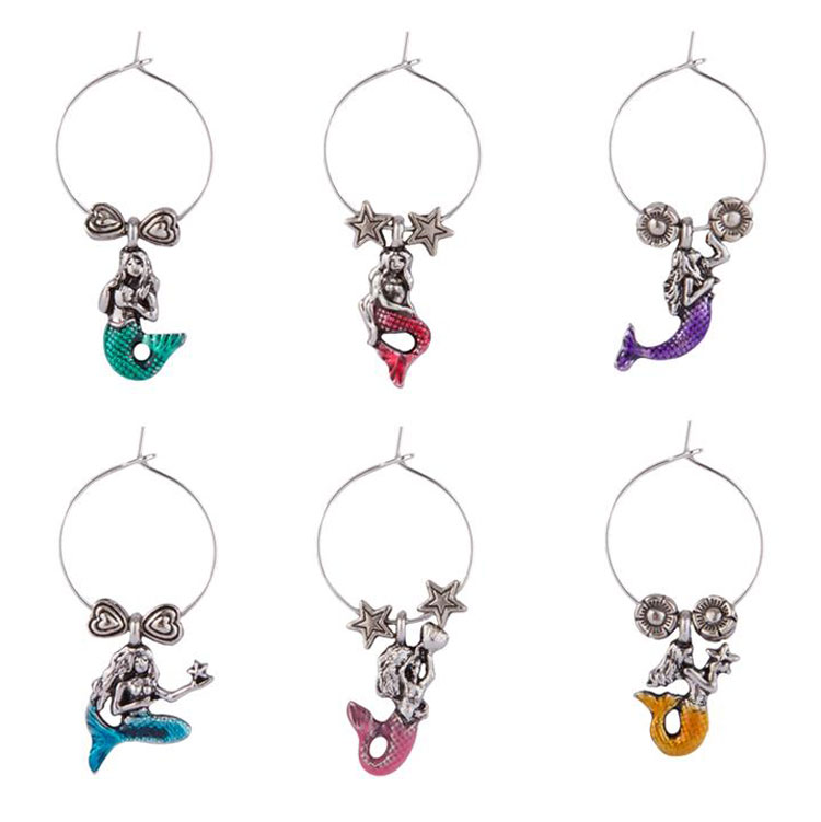 Mermaid Themed Wine Charms (6)