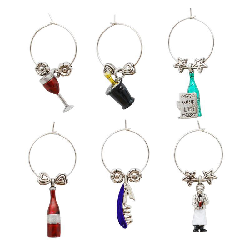 Sommelier Themed Wine Charms (6)
