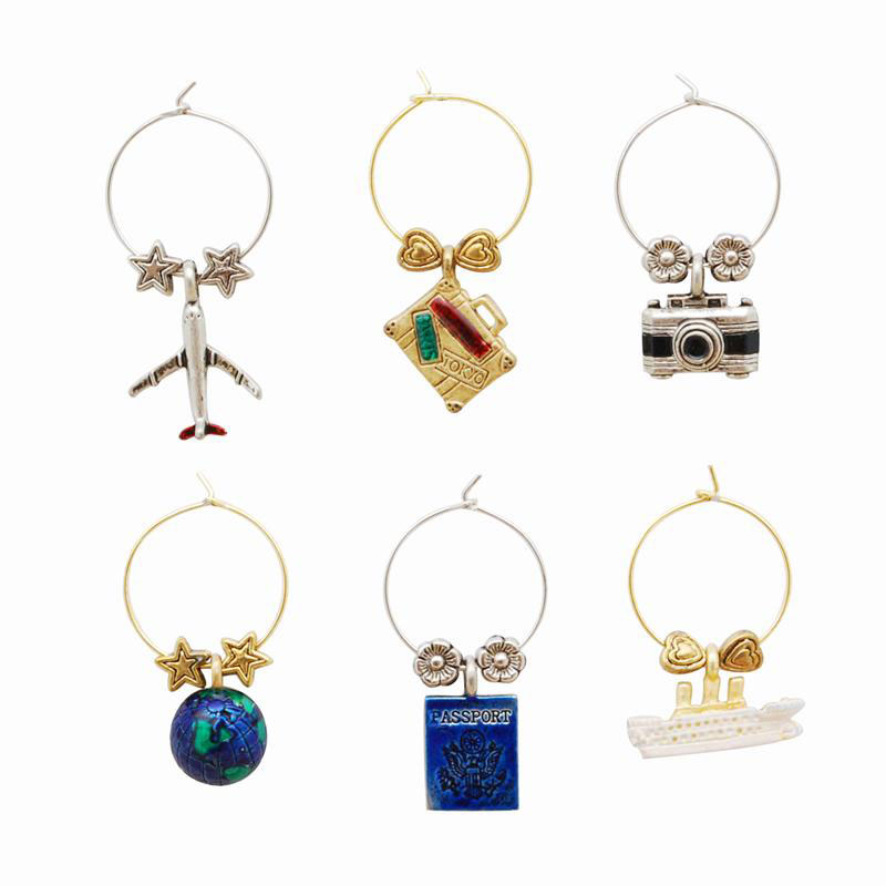 World Traveler Bon Voyage Themed Wine Charms (6)