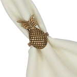Golden Pineapple Antique Brass Finish Napkin Ring