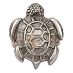Sea Turtle Antique Silver Finish Brass Napkin Ring