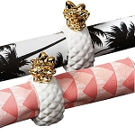 Elegant White & Gold Pineapple Napkin Rings (4)