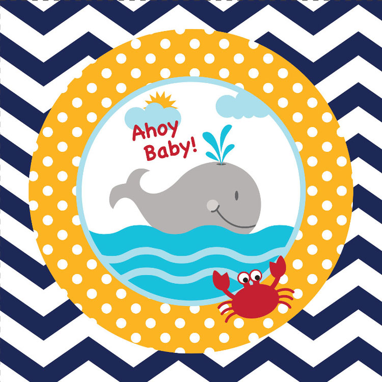 Ahoy Baby! Nautical Whale Beverage Napkins (18)