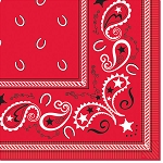 Country Western Red Bandana Beverage Napkins (16)