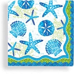 Beach Batik Sea Shell Beverage Napkins (24)