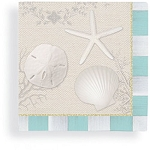 White Beach Shells & Aqua Checkered Border Beverage Napkins (24)