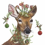 Madcap Christmas Deer Princess Napkins (20) - 2 sizes