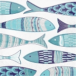 Greek-Isle-Inspired Idiosynchratic Fish Napkins  - 2 sizes