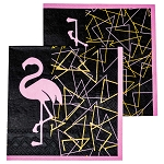 Glitzy Pink Flamingo On Black Beverage Napkins