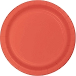 Coral Round Paper Plates (24) - 2 sizes