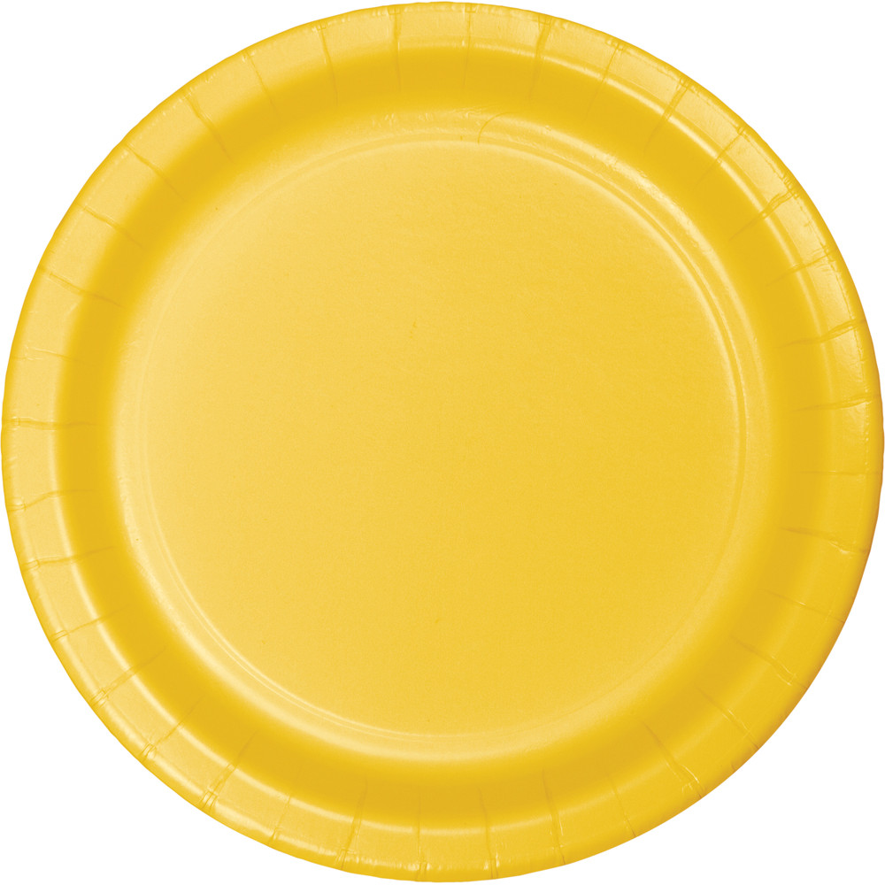 School Bus Yellow Round Paper Plates (24) - 2 sizes