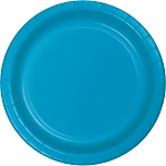 Turquoise Round Paper Plates (24) - 2 sizes