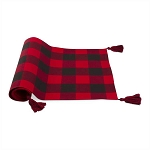 100% Cotton Red & Black Check Table Runner With Tassels **CLEARANCE**